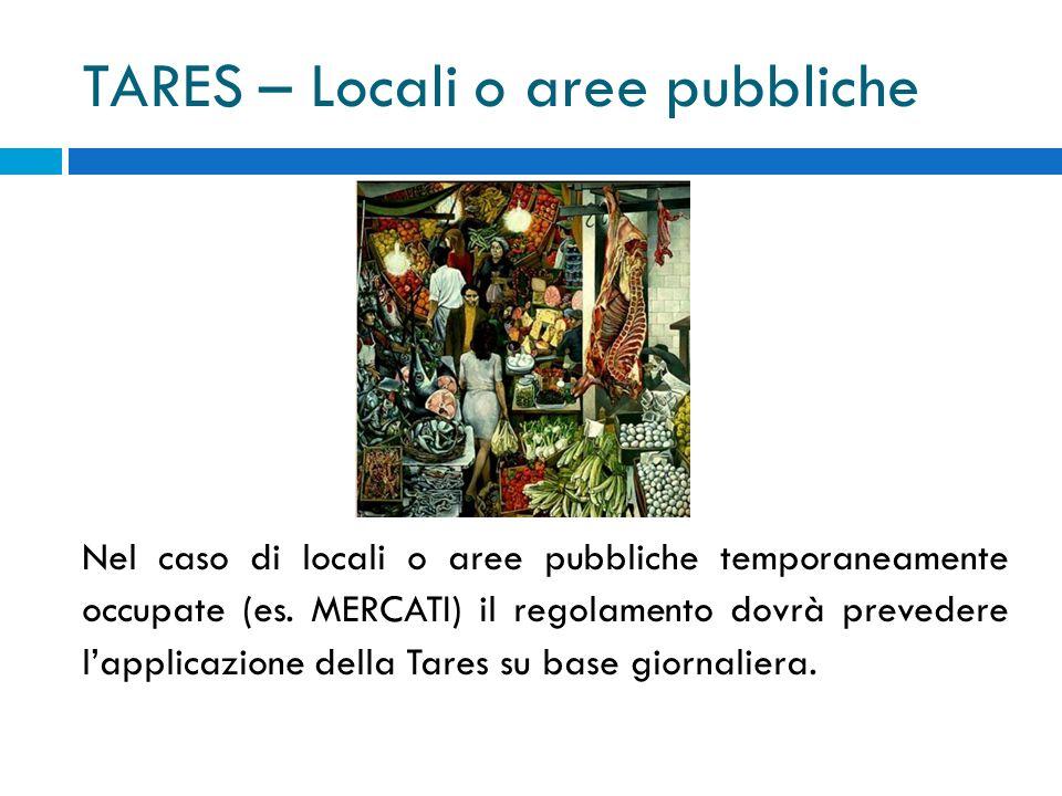 TARES – Locali o aree pubbliche Nel caso di locali o aree pubbliche temporaneamente occupate (es.