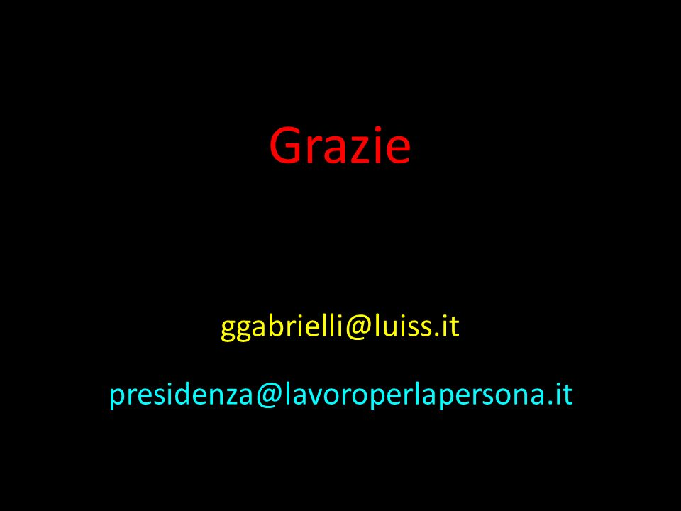 Grazie ggabrielli@luiss.it presidenza@lavoroperlapersona.it