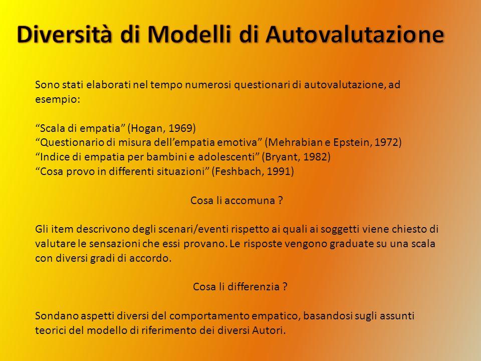 Sono stati elaborati nel tempo numerosi questionari di autovalutazione, ad esempio: Scala di empatia (Hogan, 1969) Questionario di misura dellempatia