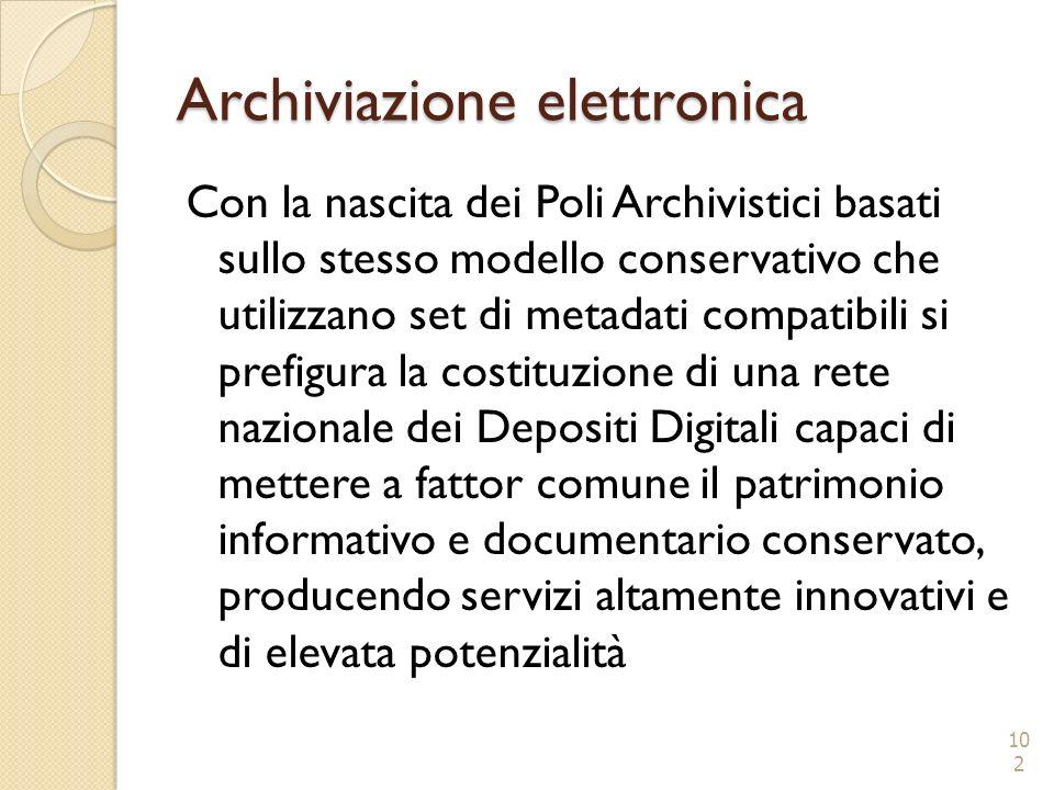 Archiviazione elettronica Con la nascita dei Poli Archivistici basati sullo stesso modello conservativo che utilizzano set di metadati compatibili si