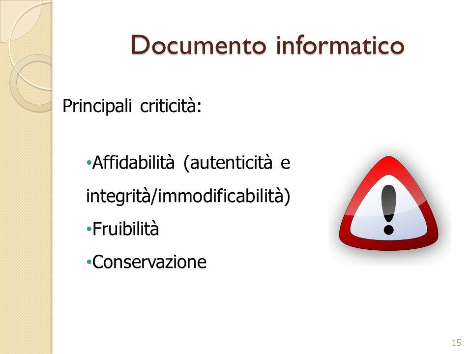 Documento informatico 15 Affidabilità (autenticità e integrità/immodificabilità) Fruibilità Conservazione Principali criticità:
