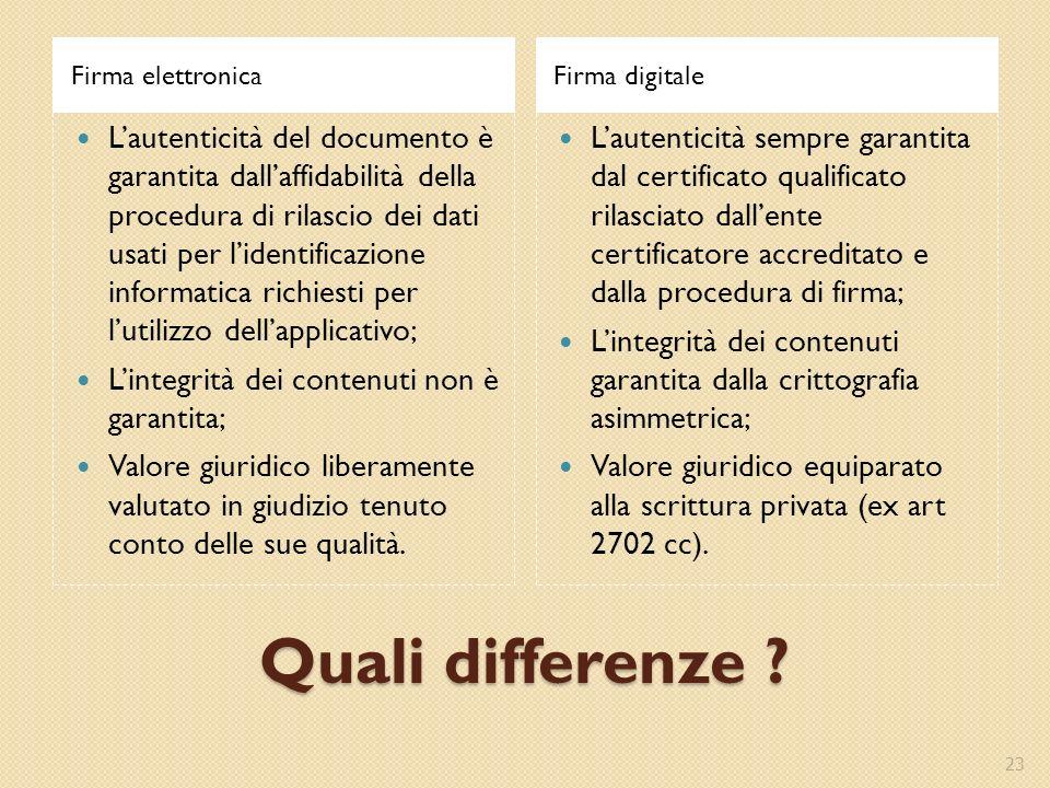 Quali differenze ? Firma elettronicaFirma digitale Lautenticità del documento è garantita dallaffidabilità della procedura di rilascio dei dati usati