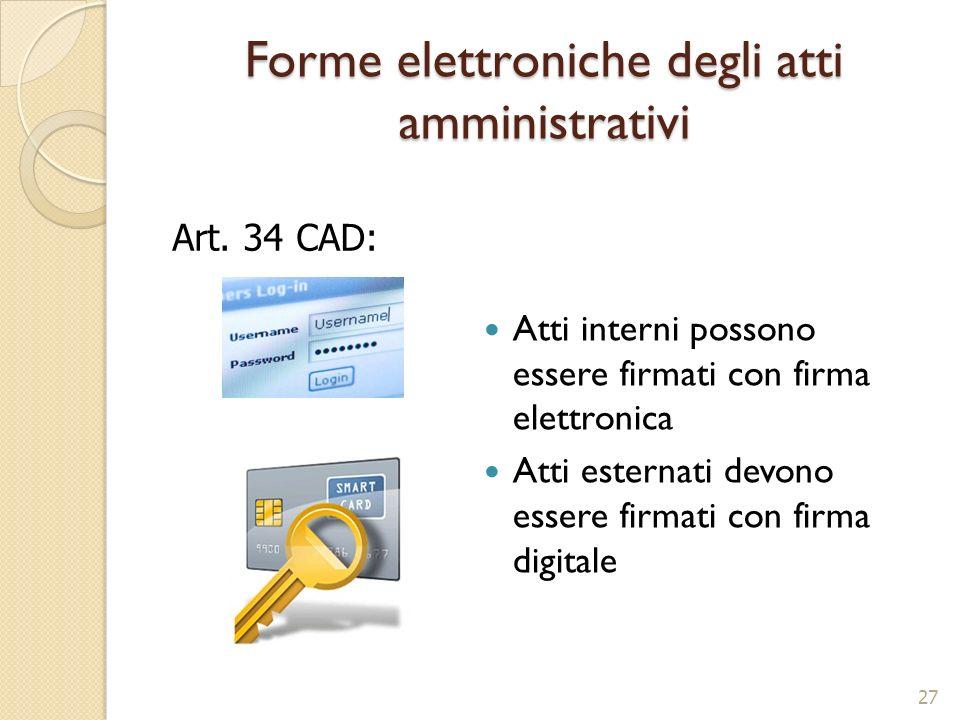 Forme elettroniche degli atti amministrativi 27 Atti interni possono essere firmati con firma elettronica Atti esternati devono essere firmati con fir