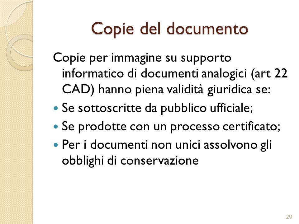 Copie del documento Copie per immagine su supporto informatico di documenti analogici (art 22 CAD) hanno piena validità giuridica se: Se sottoscritte