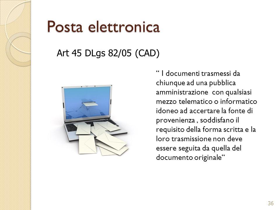 Posta elettronica I documenti trasmessi da chiunque ad una pubblica amministrazione con qualsiasi mezzo telematico o informatico idoneo ad accertare l