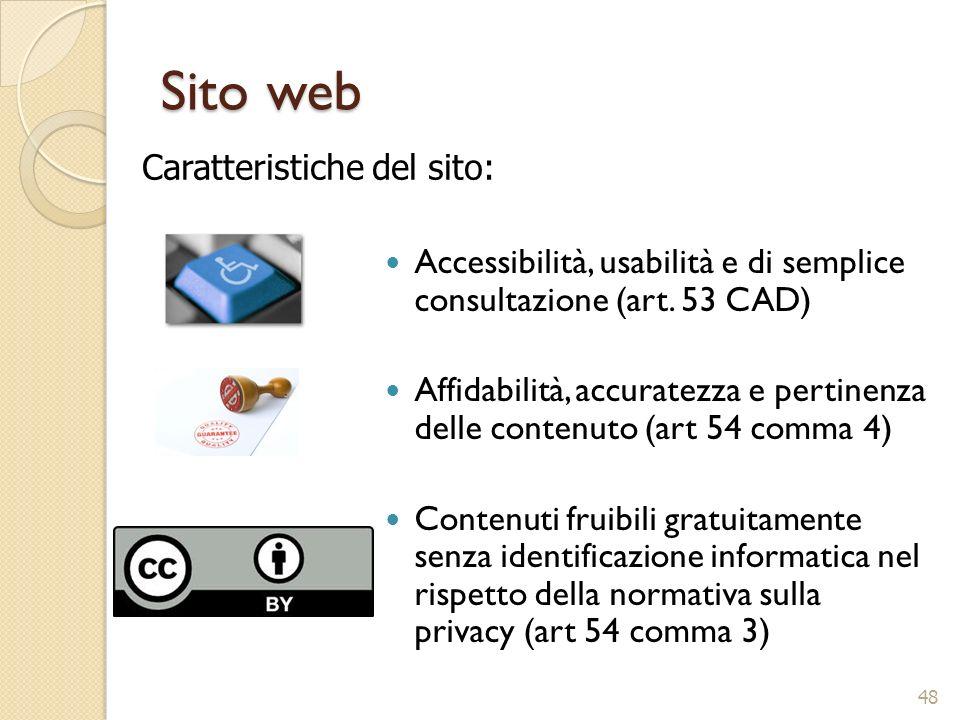 Sito web Accessibilità, usabilità e di semplice consultazione (art. 53 CAD) Affidabilità, accuratezza e pertinenza delle contenuto (art 54 comma 4) Co