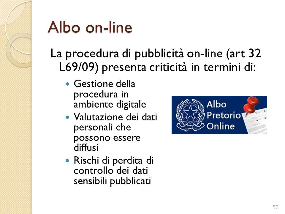 Albo on-line La procedura di pubblicità on-line (art 32 L69/09) presenta criticità in termini di: 50 Gestione della procedura in ambiente digitale Val