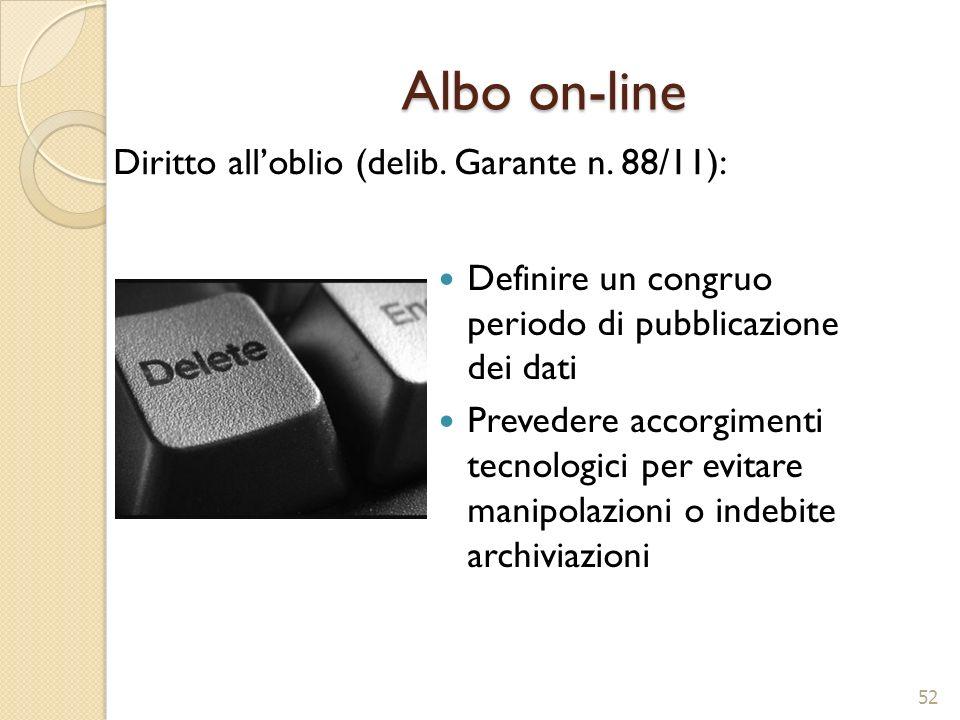 Albo on-line Definire un congruo periodo di pubblicazione dei dati Prevedere accorgimenti tecnologici per evitare manipolazioni o indebite archiviazio