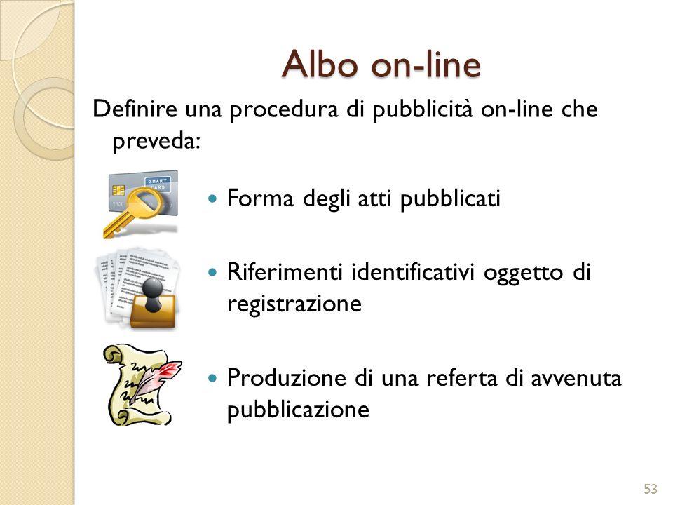 Albo on-line Forma degli atti pubblicati Riferimenti identificativi oggetto di registrazione Produzione di una referta di avvenuta pubblicazione 53 De