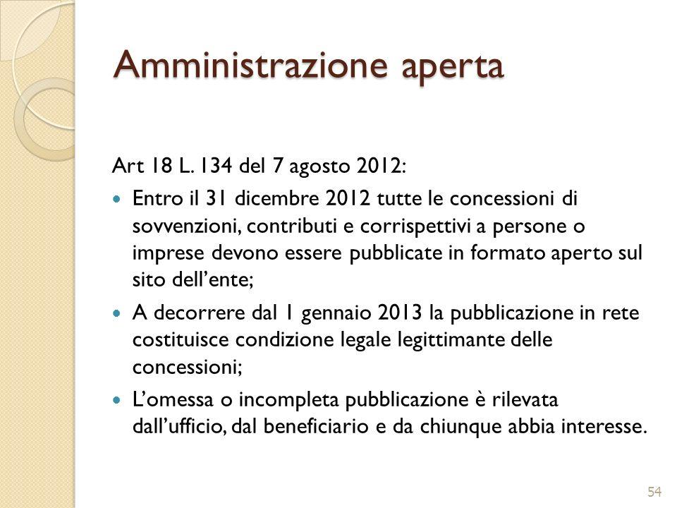 Amministrazione aperta Art 18 L. 134 del 7 agosto 2012: Entro il 31 dicembre 2012 tutte le concessioni di sovvenzioni, contributi e corrispettivi a pe
