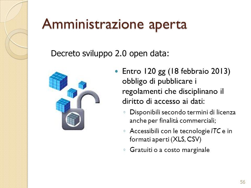 Amministrazione aperta Entro 120 gg (18 febbraio 2013) obbligo di pubblicare i regolamenti che disciplinano il diritto di accesso ai dati: Disponibili
