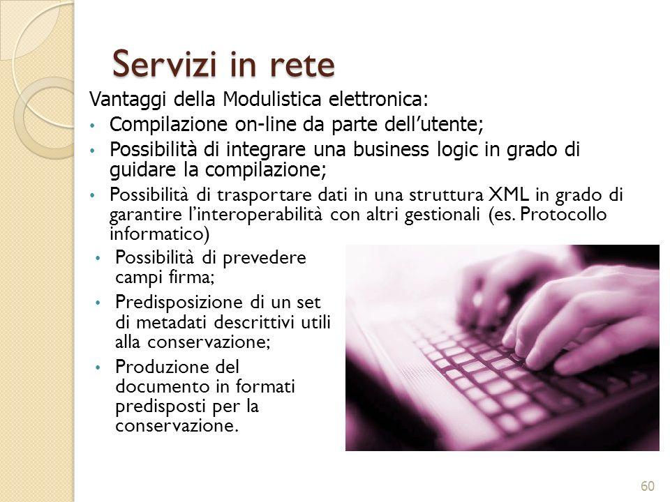 Servizi in rete Vantaggi della Modulistica elettronica: Compilazione on-line da parte dellutente; Possibilità di integrare una business logic in grado