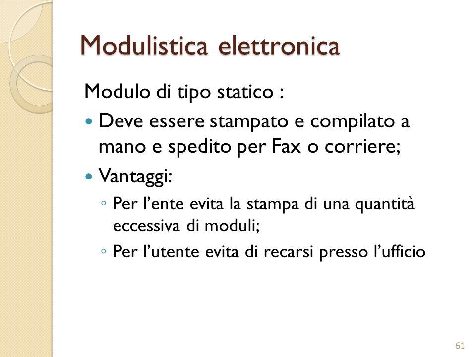 Modulistica elettronica Modulo di tipo statico : Deve essere stampato e compilato a mano e spedito per Fax o corriere; Vantaggi: Per lente evita la st