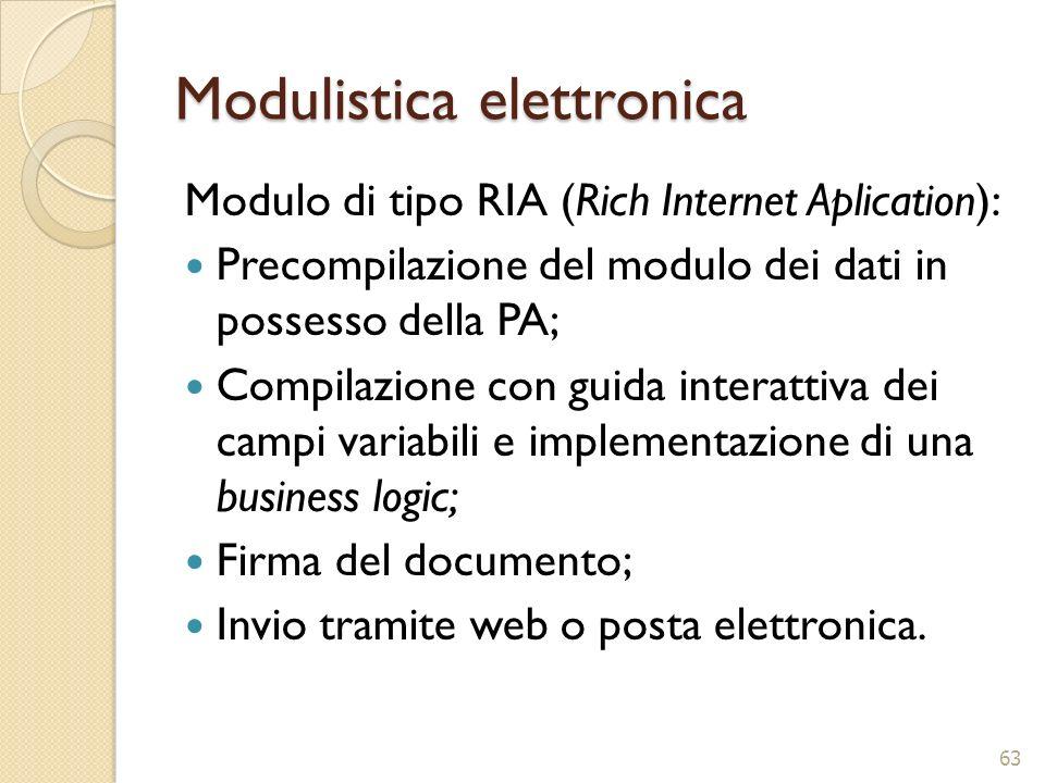 Modulistica elettronica Modulo di tipo RIA (Rich Internet Aplication): Precompilazione del modulo dei dati in possesso della PA; Compilazione con guid