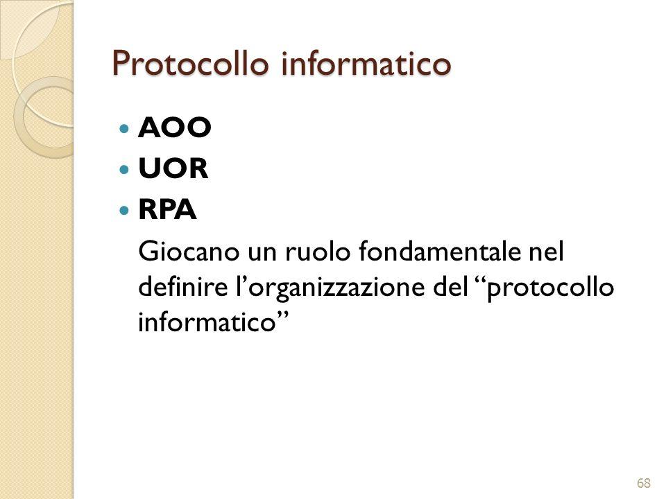 Protocollo informatico AOO UOR RPA Giocano un ruolo fondamentale nel definire lorganizzazione del protocollo informatico 68