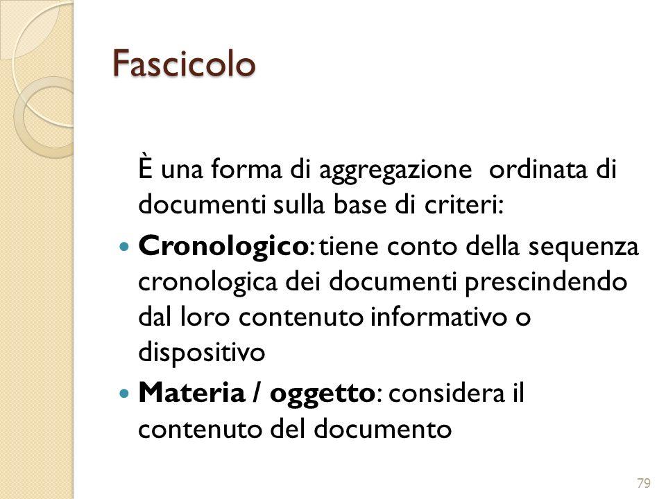 Fascicolo È una forma di aggregazione ordinata di documenti sulla base di criteri: Cronologico: tiene conto della sequenza cronologica dei documenti p