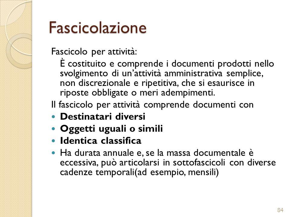 Fascicolazione Fascicolo per attività: È costituito e comprende i documenti prodotti nello svolgimento di unattività amministrativa semplice, non disc