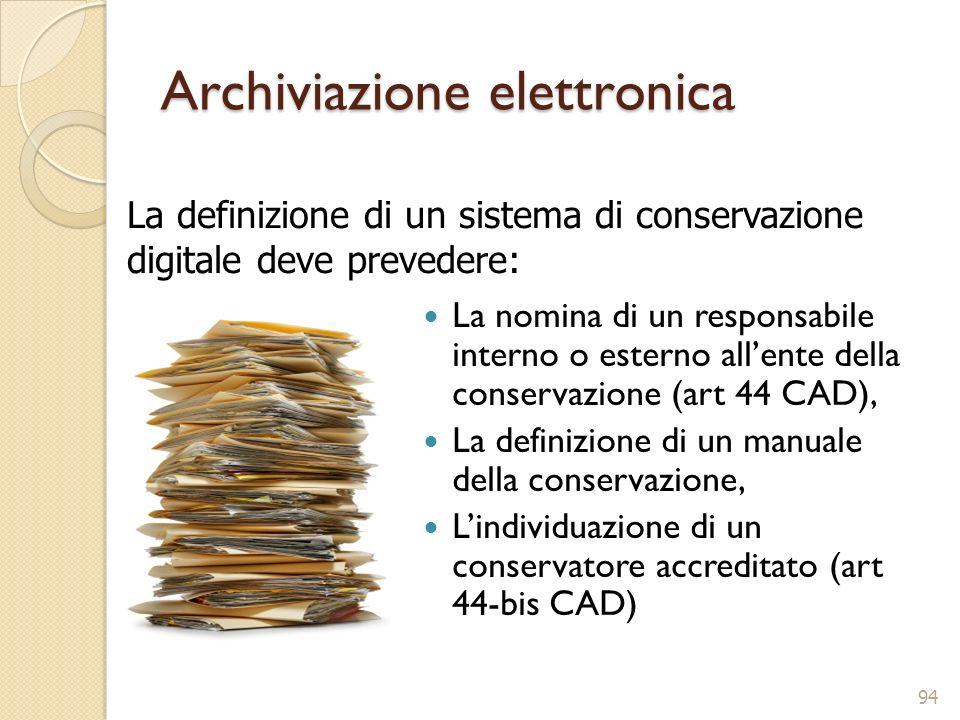 Archiviazione elettronica La nomina di un responsabile interno o esterno allente della conservazione (art 44 CAD), La definizione di un manuale della