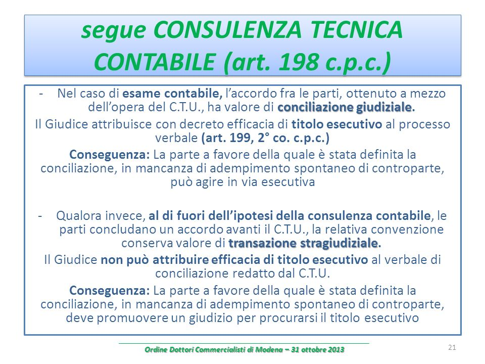 segue CONSULENZA TECNICA CONTABILE (art. 198 c.p.c.) conciliazione giudiziale -Nel caso di esame contabile, laccordo fra le parti, ottenuto a mezzo de