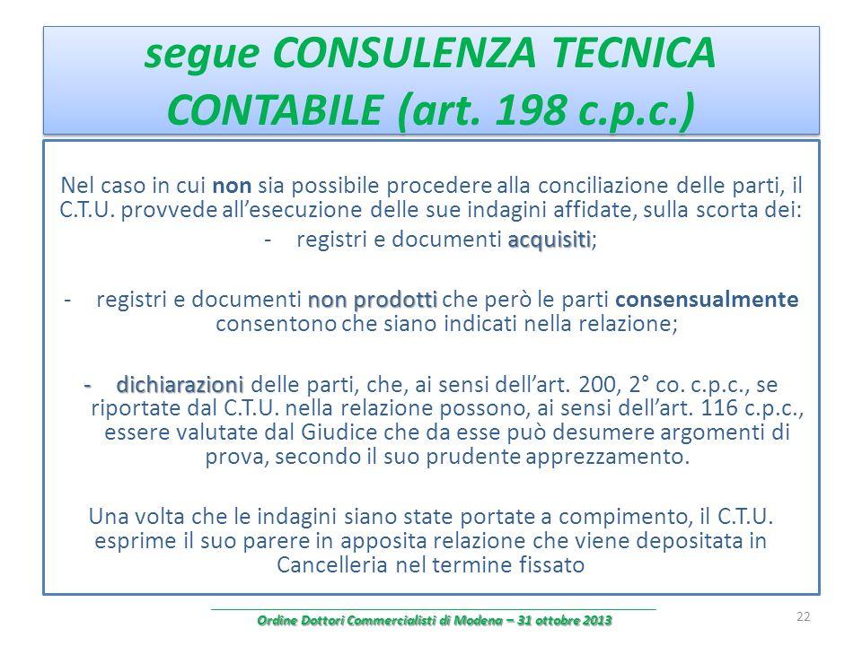 segue CONSULENZA TECNICA CONTABILE (art. 198 c.p.c.) Nel caso in cui non sia possibile procedere alla conciliazione delle parti, il C.T.U. provvede al
