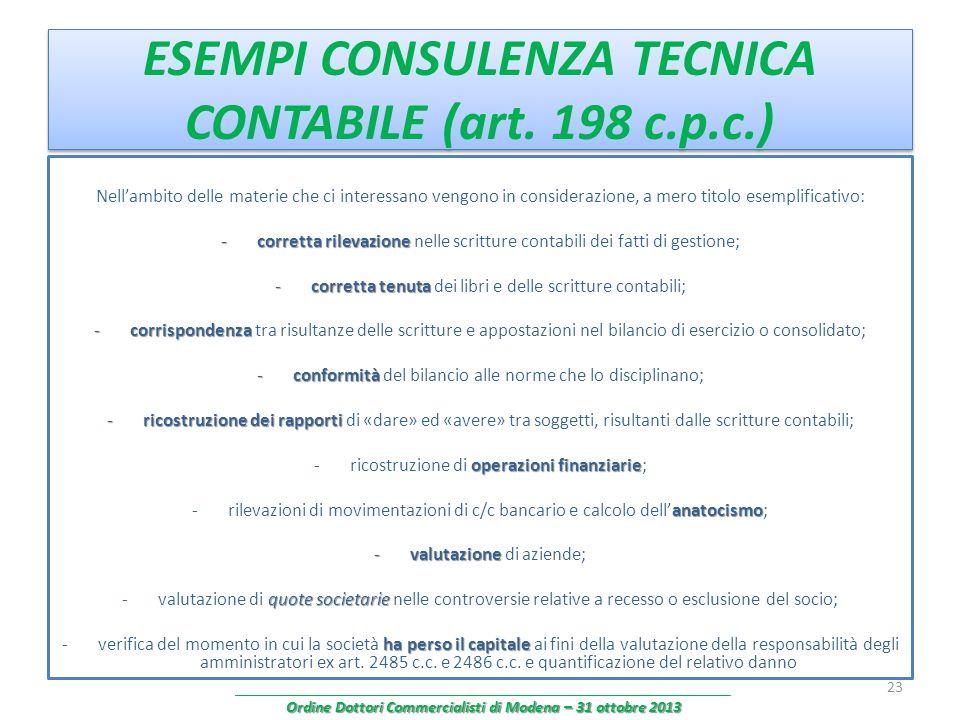 ESEMPI CONSULENZA TECNICA CONTABILE (art. 198 c.p.c.) Nellambito delle materie che ci interessano vengono in considerazione, a mero titolo esemplifica