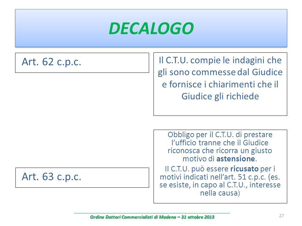 DECALOGO Art. 62 c.p.c. Il C.T.U. compie le indagini che gli sono commesse dal Giudice e fornisce i chiarimenti che il Giudice gli richiede 27 Art. 63