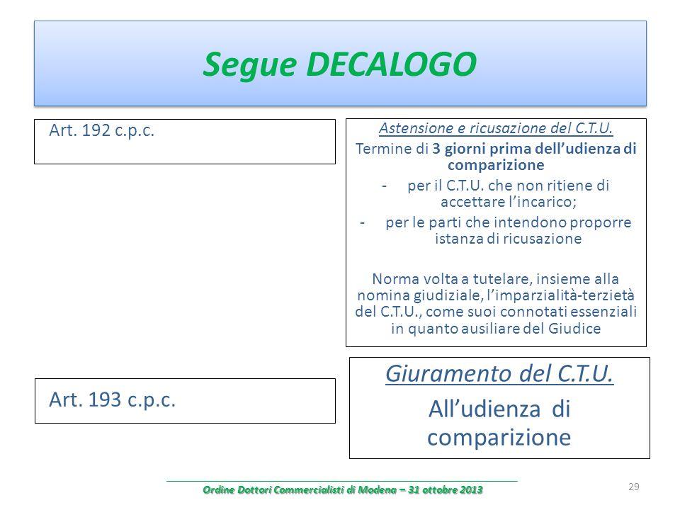 Segue DECALOGO Art. 192 c.p.c. Astensione e ricusazione del C.T.U. Termine di 3 giorni prima delludienza di comparizione -per il C.T.U. che non ritien