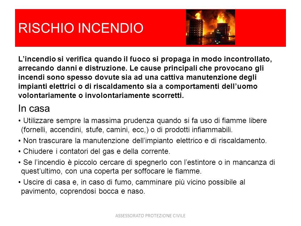 RISCHIO INCENDIO Lincendio si verifica quando il fuoco si propaga in modo incontrollato, arrecando danni e distruzione. Le cause principali che provoc