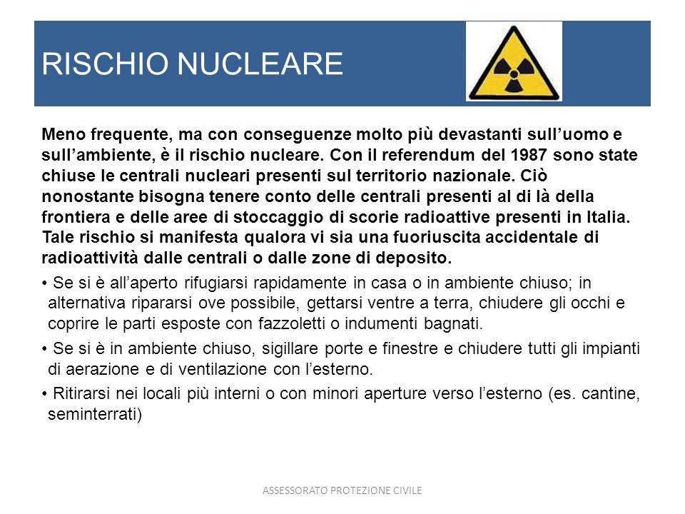RISCHIO NUCLEARE Meno frequente, ma con conseguenze molto più devastanti sulluomo e sullambiente, è il rischio nucleare. Con il referendum del 1987 so