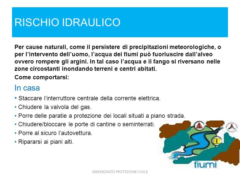 RISCHIO IDRAULICO Per cause naturali, come il persistere di precipitazioni meteorologiche, o per lintervento delluomo, lacqua dei fiumi può fuoriuscir
