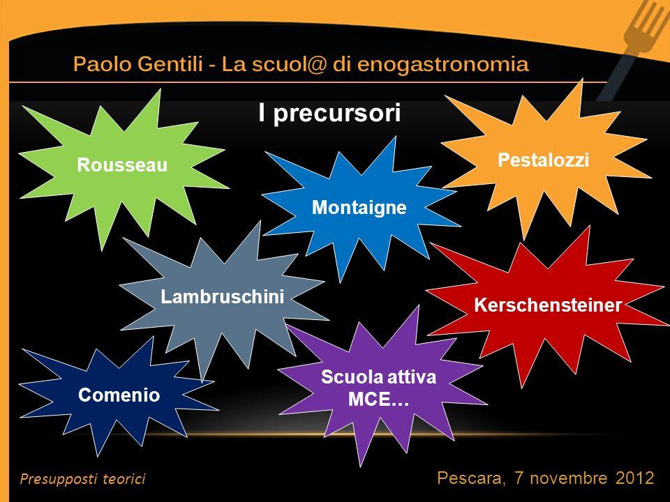 I precursori Rousseau Lambruschini Montaigne Pestalozzi Kerschensteiner Comenio Scuola attiva MCE… Presupposti teorici