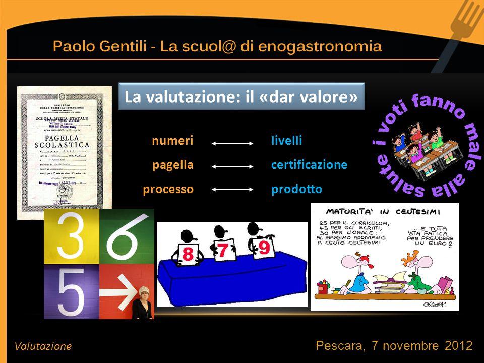 Pescara, 7 novembre 2012 Valutazione La valutazione: il «dar valore» livelli certificazione prodotto numeri pagella processo