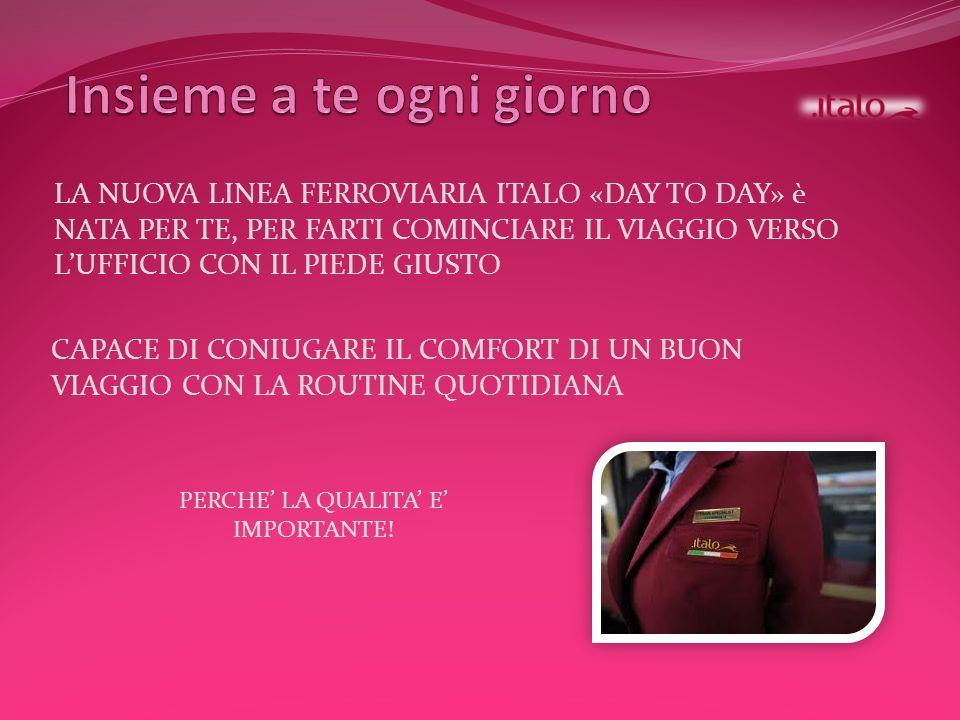 LA NUOVA LINEA FERROVIARIA ITALO «DAY TO DAY» è NATA PER TE, PER FARTI COMINCIARE IL VIAGGIO VERSO LUFFICIO CON IL PIEDE GIUSTO CAPACE DI CONIUGARE IL