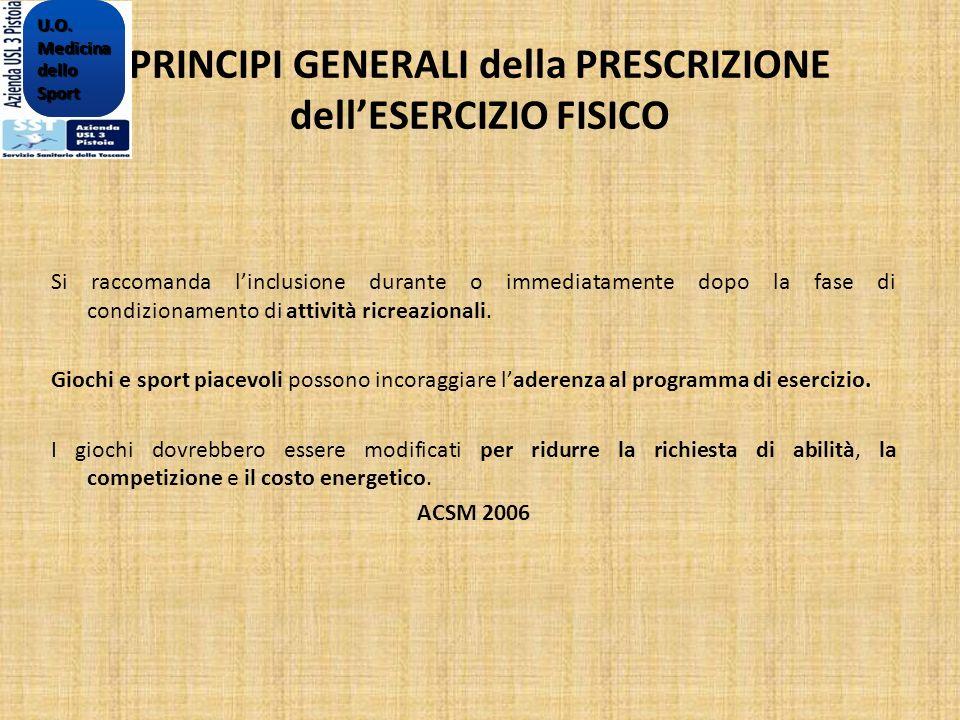 PRINCIPI GENERALI della PRESCRIZIONE dellESERCIZIO FISICO Si raccomanda linclusione durante o immediatamente dopo la fase di condizionamento di attivi