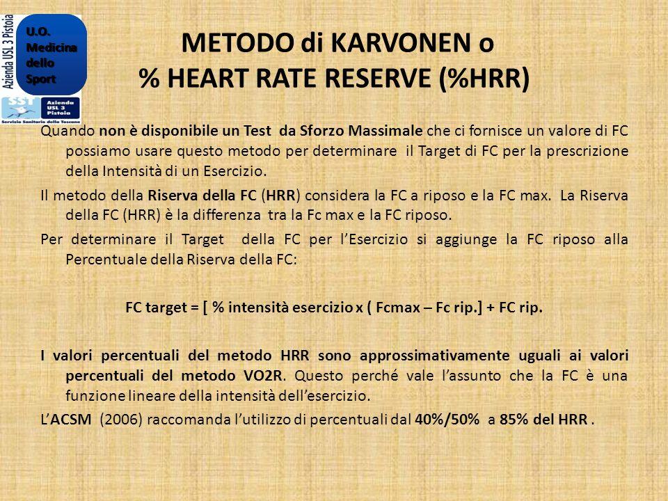 METODO di KARVONEN o % HEART RATE RESERVE (%HRR) Quando non è disponibile un Test da Sforzo Massimale che ci fornisce un valore di FC possiamo usare q