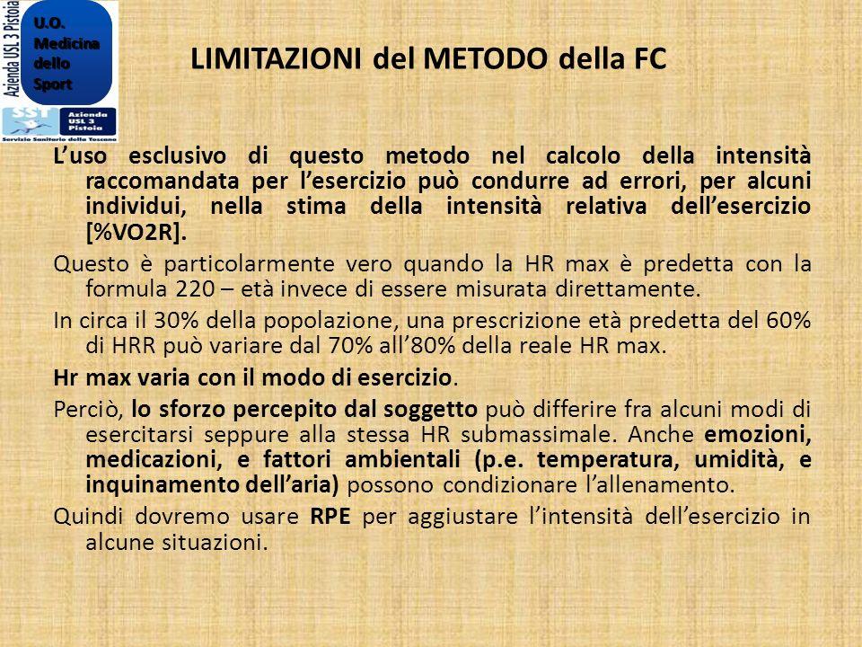 LIMITAZIONI del METODO della FC Luso esclusivo di questo metodo nel calcolo della intensità raccomandata per lesercizio può condurre ad errori, per al