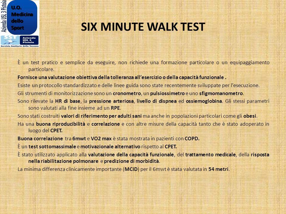 SIX MINUTE WALK TEST È un test pratico e semplice da eseguire, non richiede una formazione particolare o un equipaggiamento particolare. Fornisce una