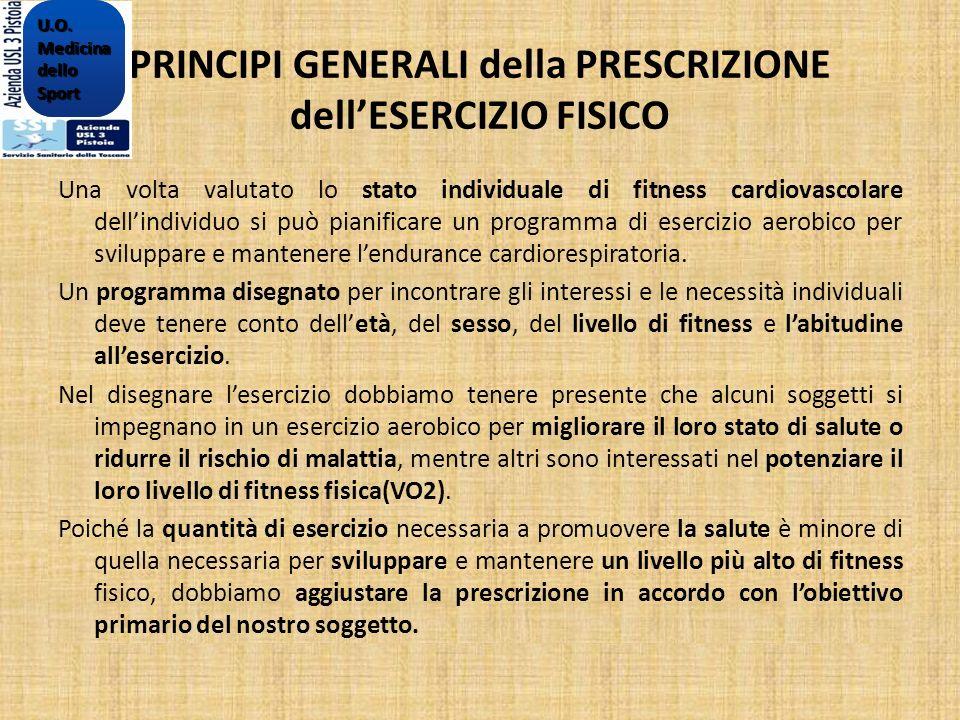 PRINCIPI GENERALI della PRESCRIZIONE dellESERCIZIO FISICO Una volta valutato lo stato individuale di fitness cardiovascolare dellindividuo si può pian