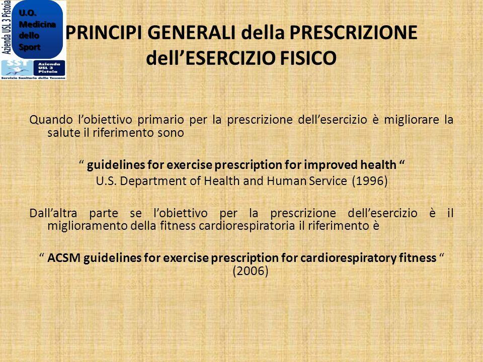 PRINCIPI GENERALI della PRESCRIZIONE dellESERCIZIO FISICO Quando lobiettivo primario per la prescrizione dellesercizio è migliorare la salute il rifer