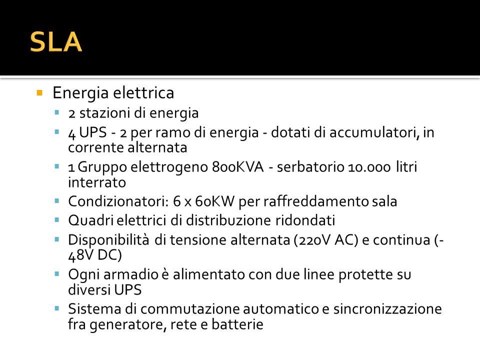Energia elettrica 2 stazioni di energia 4 UPS - 2 per ramo di energia - dotati di accumulatori, in corrente alternata 1 Gruppo elettrogeno 800KVA - se