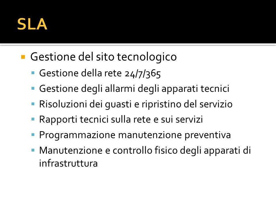 Gestione del sito tecnologico Gestione della rete 24/7/365 Gestione degli allarmi degli apparati tecnici Risoluzioni dei guasti e ripristino del servi