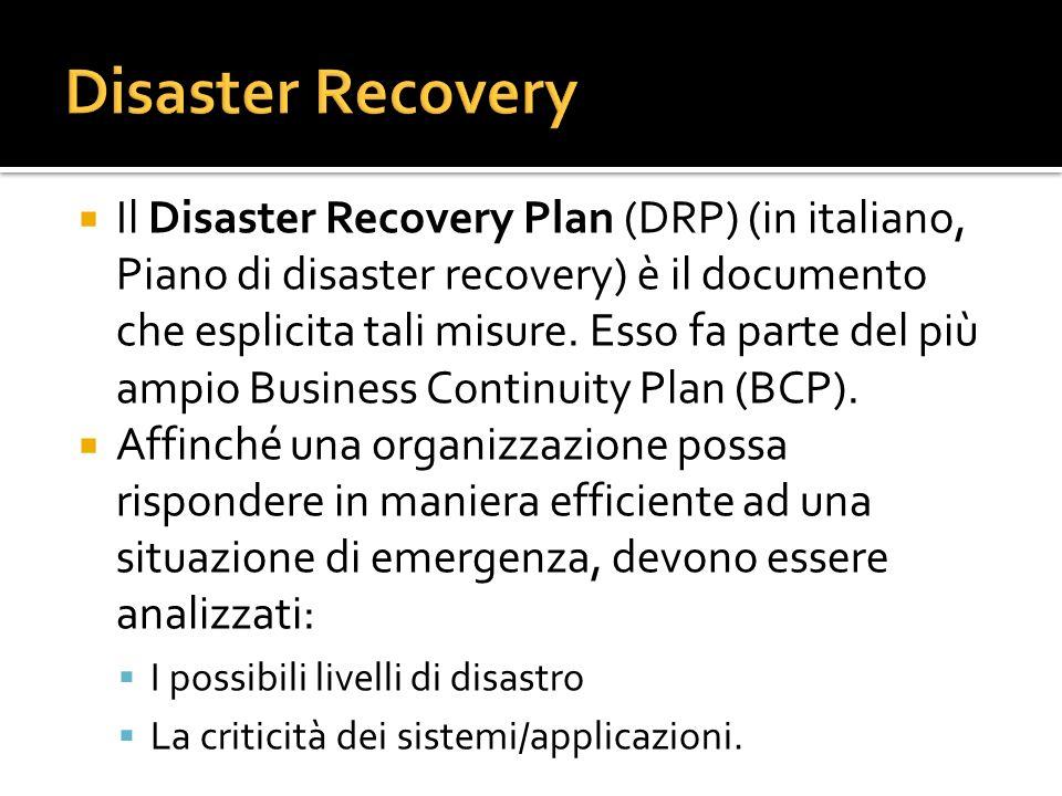 Il Disaster Recovery Plan (DRP) (in italiano, Piano di disaster recovery) è il documento che esplicita tali misure. Esso fa parte del più ampio Busine