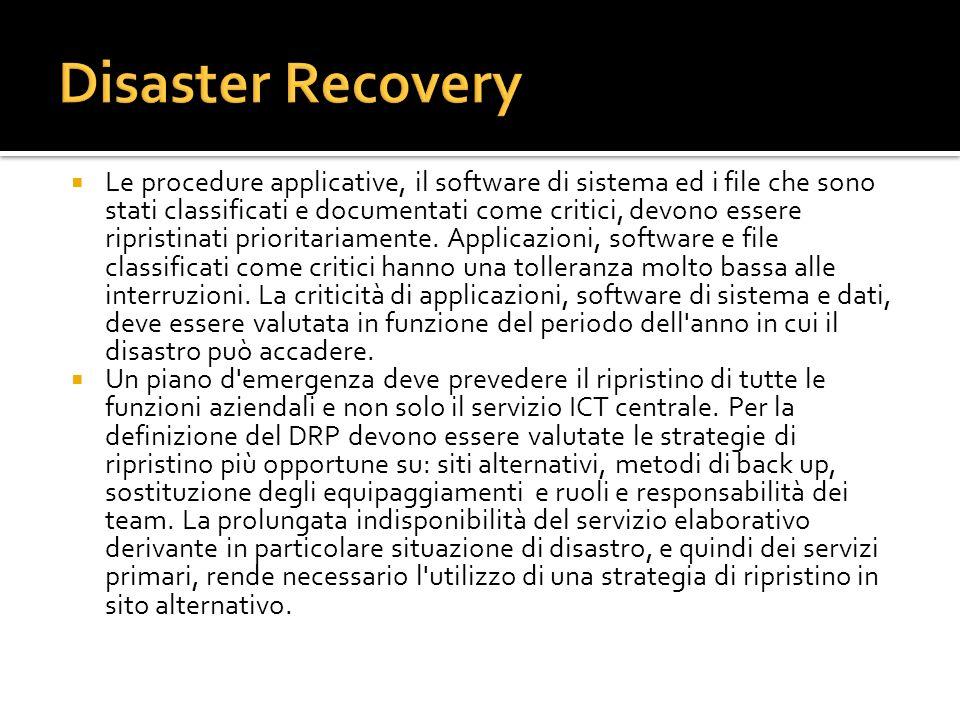 Allo stato attuale, la tecnologia offre la possibilità di realizzare varie soluzioni di continuità e Disaster Recovery, fino alla garanzia di fatto di unerogazione continua dei servizi IT, necessaria per i sistemi (es.