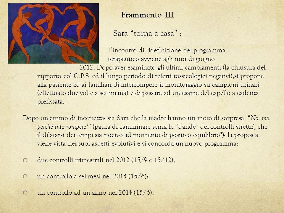 Frammento III Sara torna a casa : Lincontro di ridefinizione del programma terapeutico avviene agli inizi di giugno 2012. Dopo aver esaminato gli ulti