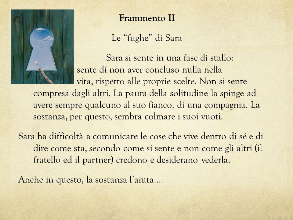 Frammento II Le fughe di Sara Sara si sente in una fase di stallo: sente di non aver concluso nulla nella vita, rispetto alle proprie scelte. Non si s