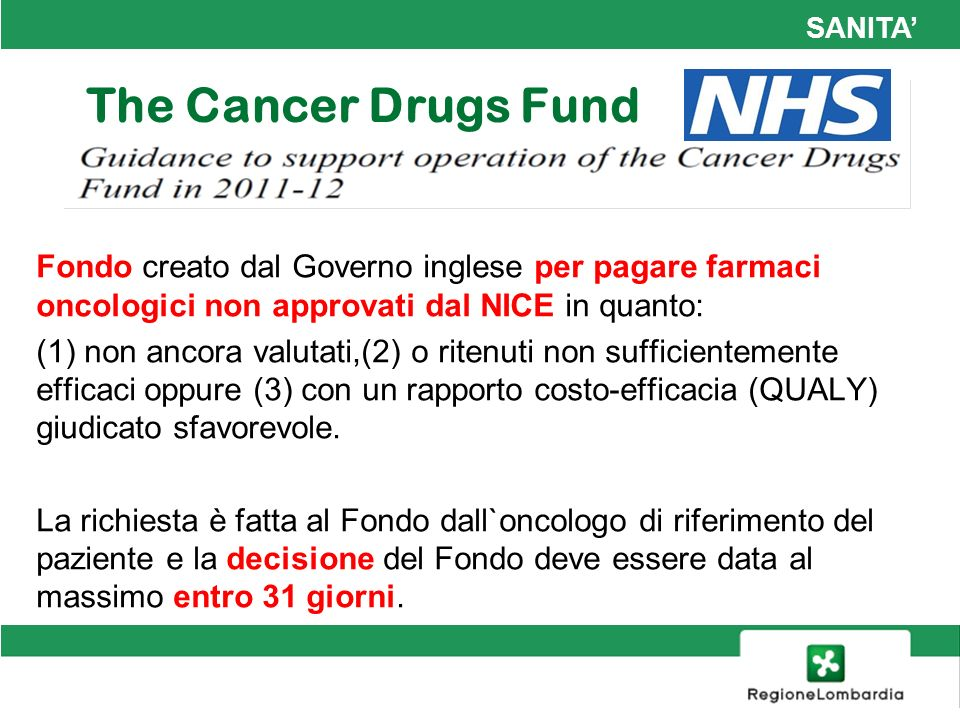 SANITA Fondo creato dal Governo inglese per pagare farmaci oncologici non approvati dal NICE in quanto: (1) non ancora valutati,(2) o ritenuti non suf