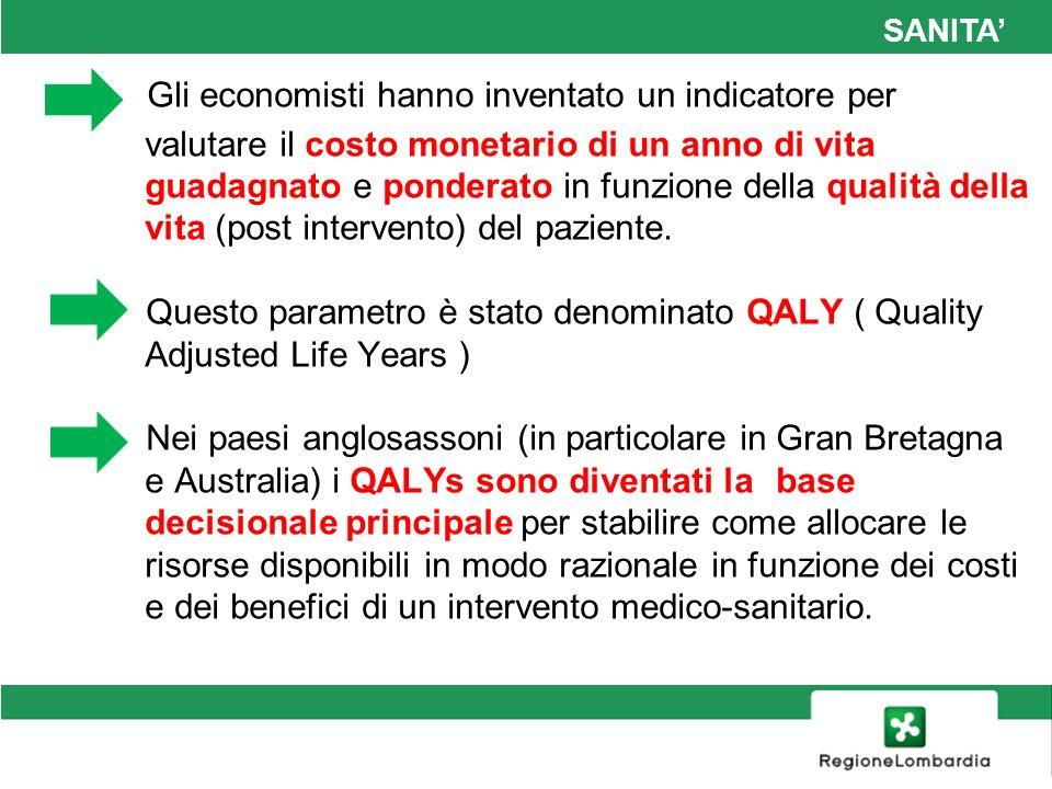 SANITA In generale, se un trattamento ha un costo per QALY superiore a £ 30000 ( Euro 37300) (cifra rimasta invariata negli ultimi 20 anni .