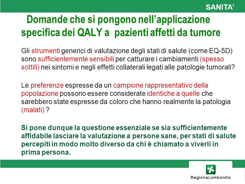 SANITA Domande che si pongono nellapplicazione specifica dei QALY a pazienti affetti da tumore Gli strumenti generici di valutazione degli stati di sa