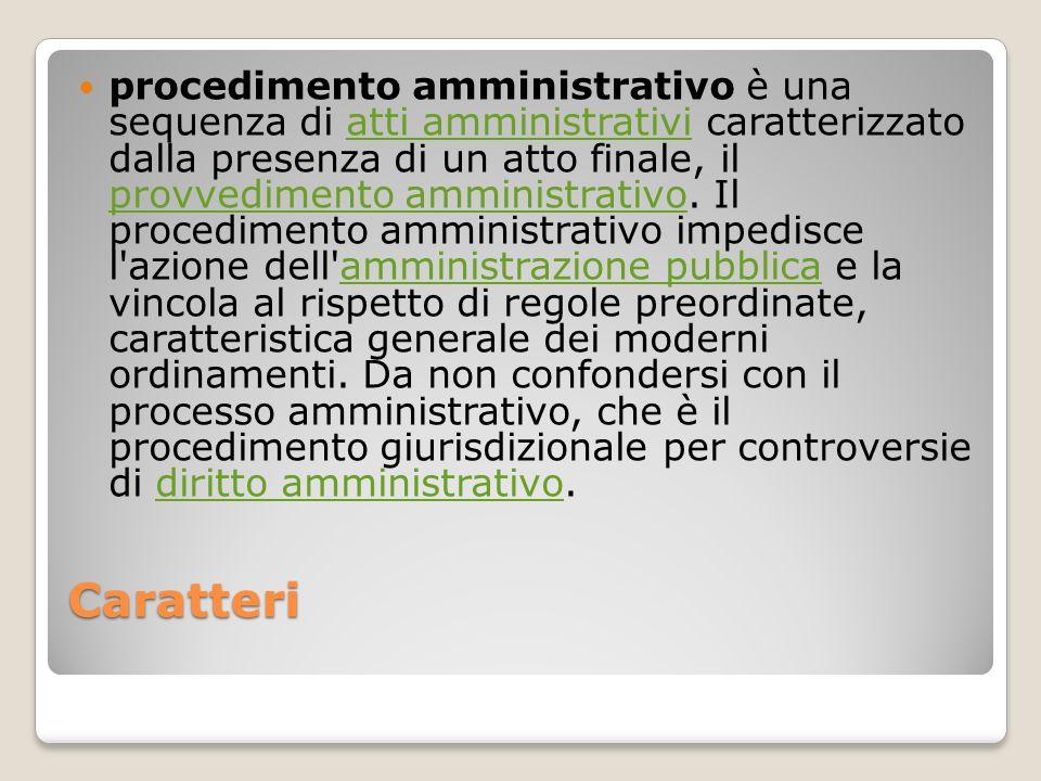 Caratteri procedimento amministrativo è una sequenza di atti amministrativi caratterizzato dalla presenza di un atto finale, il provvedimento amminist