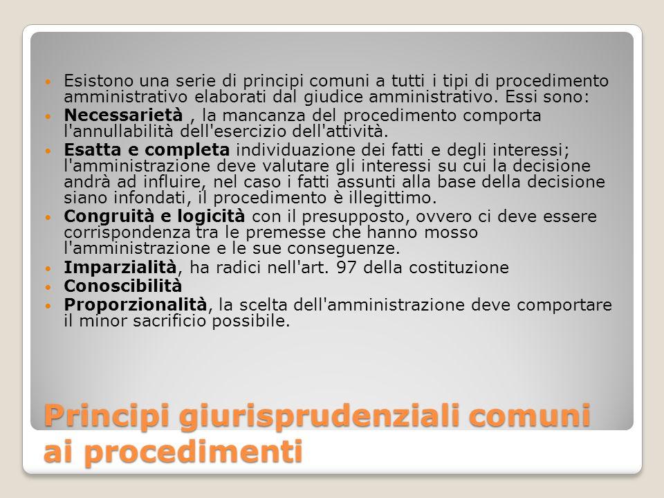 Principi giurisprudenziali comuni ai procedimenti Esistono una serie di principi comuni a tutti i tipi di procedimento amministrativo elaborati dal gi